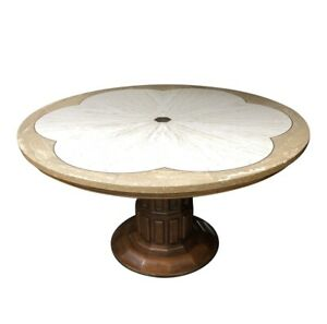 John Widdicomb Round Travertine Top Table