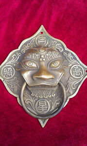 Old Chinese Brass Copper Dragon Beast Lock Head Door Knocker