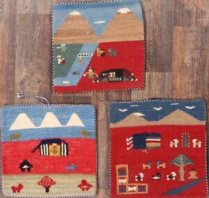 Set Of 3 A Quality Throw Pillow Case 2 X2 Kilim Turkish Hand Woven Tribal Rug