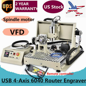Usb 4 axis 6040t Router Engraver 1 5kw Engraving Drilling Milling Machine Rc