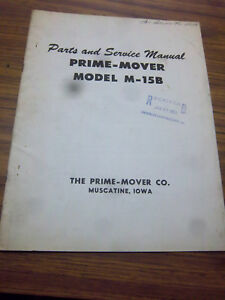 Prime Mover M 15b Power Buggy Service operating maintenance part Manual 1959