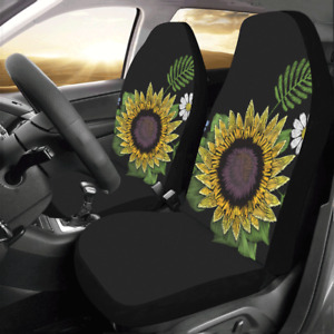 New Floral Pattern Sunflower Daisy Car Seat Covers Set Of 2 Protectors For Car