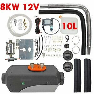 8kw 12v Diesel Air Heater Lcd Thermostat 10l Tank For Trucks Boat Cars Trailer