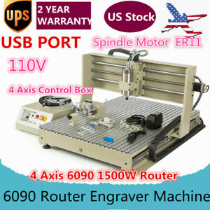 Usb 6090 4 Axis Vfd Router Engraver 1500w Spindle Engravering Mill Machine