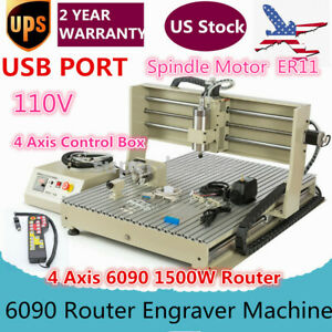 110v Usb 4axis 6090 Router Engraver Engraving Machine 3d Cutter Drill 1500w Rc