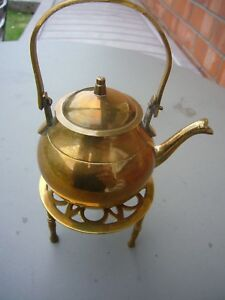 Vintage Collectible Brass Tea Pot And Stand