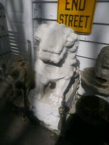 Giant Chinese White Marble Foo Dogs 45inch