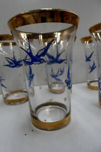 5 Antique Victorian Glass Tumblers Enamel Painted Blue Swallows Bluebird Glasses