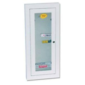 Fire Extinguisher Cabinet Semi recess Locked Steel Breakable Glass Home Safety