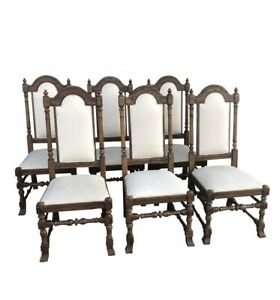 Ethan Allen Set Of Six Royal Charter Oak Dining Chairs