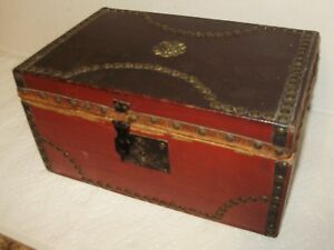 Antique Document Box Red And Brown Leather Very Old Late 1800 S