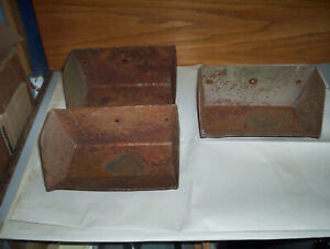 3 Vintage Metal Grain Elevator Buckets Lot By Sweet Mfg Springfield Oh 9 X 5 5