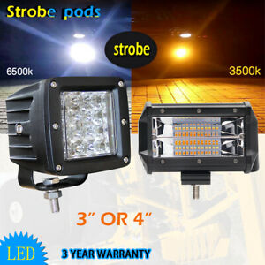 3x3 Inch 5 Led Work Light Bar Pods Offroad Fog Lamp White Amber Strobe Flash 3