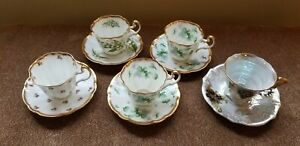 Vintage Set Of 5 Bone China Cups And Saucers