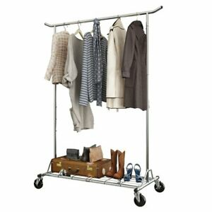 Commercial Heavy Duty Rolling Garment Rack Collapsible Adjustable Clothing Shelf