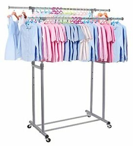 Proaid Double Rail Clothes Rack Adjustable Rolling Clothing And Garment Rack W