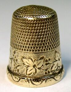 Antique Simons Brothers Gold Thimble Wild Grapes Leaves Chased Scroll Rim