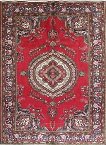 Geometric Red Tebriz Persian Area Rug Hand Knotted Oriental Wool Area Rug 7x9