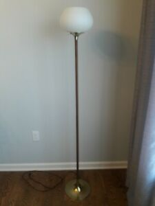 Vintage Laurel Modified Mid Century Floor Lamp With Frosted Glass Shade Rare