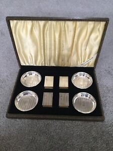 Vintage Webster Sterling Silver Ashtray And Matchbox Set With Box