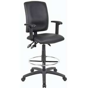Boss Leather Plus Multi function Drafting Stool Work Office Home Furniture