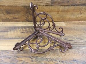 Set Of 2 Vintage Look 6 75 X 8 Cast Iron Fat Ivy Design Shelf Brackets