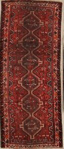 Pre1900 Antique Qashqai Persian Hand Knotted 4x9 Wool Runner Rug