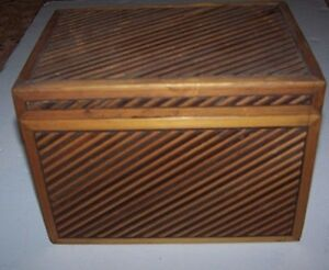 Vintage Diagonal Slat Wood Storage File Box Paper Board Lining