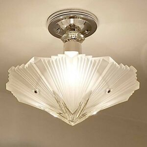 389b Vintage Art Deco Ceiling Light Lamp Fixture Glass Re Wired