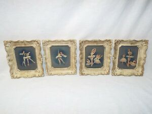 Gorgeous Set Of 4 Atq Vtg Ballerina White Ornate Framed Prints Signed Lithograph