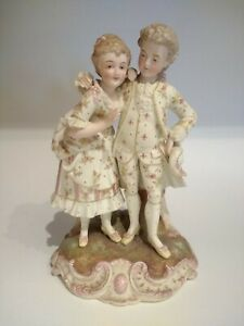 Antique 1800 S French Bisque Porcelain Figurine Couple Grouping Signed