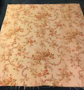 Antique French C1880 Rococco Linen Floral Fabric 32 X 31