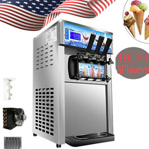 Pro Ice Cream Cones Machine Soft Serve Ice Cream Frozen Yogurt Maker 3 Flavors