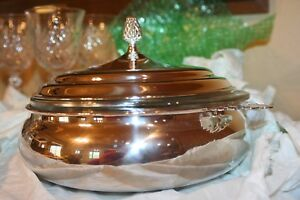 Silver Plate Round Covered Vegetable Server With Handles Includes Glass Liner