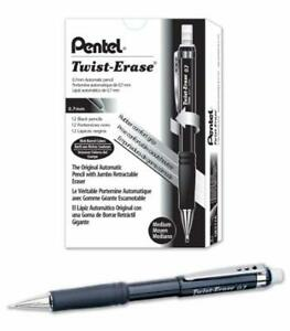 Pentel Twist erase Iii Mechanical Pencil 0 7mm Black Barrel 12 Pack qe517a 1