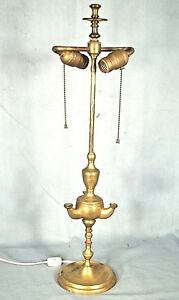 Vintage Early 20th Century Brass 3 Arm Aladdin Lamp With Double Fat Boy Sockets