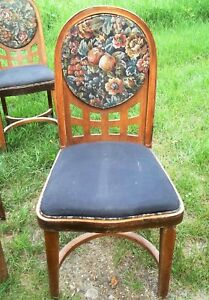 Set Of Ten 10 Art Deco Upholstered Wooden Hoop Back Side Chairs