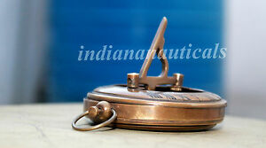 Vintage Nautical 3 Push Button Sundial Compass In Solid Brass In Antique Finish