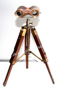 Antique Maritime Collectible Binocular With Wooden Tripod Ship Intrument