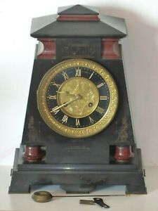 Rare Antique Victorian Slate Marble Clock Egyptian Connell 83 Cheapside London