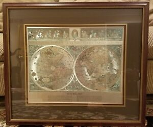 Vintage Teal Gold Foiled Blaeu Wall Map Of New World 30x26 Triplematted Framed