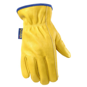 Water Resistant Leather Work Gloves Grain Cowhide Palm Patch Hydrahyde Medium