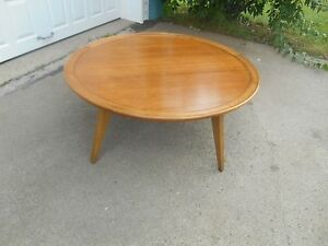 Mid Century Modern Drexel Profile Round Walnut Cocktail Table By John Van Koert