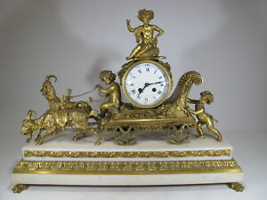 Huge 9th C French Marti Gilt Bronze Marble Clock D9863