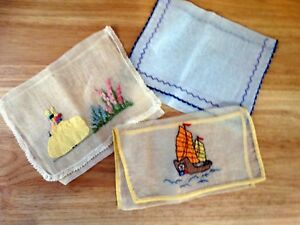 3 Victorian Lingerie Bags Organdy Hand Embroidered Flowers Woman Sampan