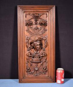 French Antique Deep Carved Architectural Panel Door Walnut With Face