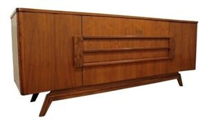 Mid Century Danish Modern Walnut Burl Elongated Credenza