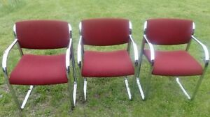 Vintage Steelcase 474 419 Office Chairs Set Of 3 Red Fabric Chrome Frames
