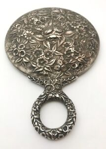 Antique S Kirk Son Repousse Hand Mirror Sterling