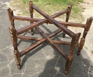 Mid Century Moroccan Brass Tray Table Folding Stand 30 X 18 Base Carved Wood